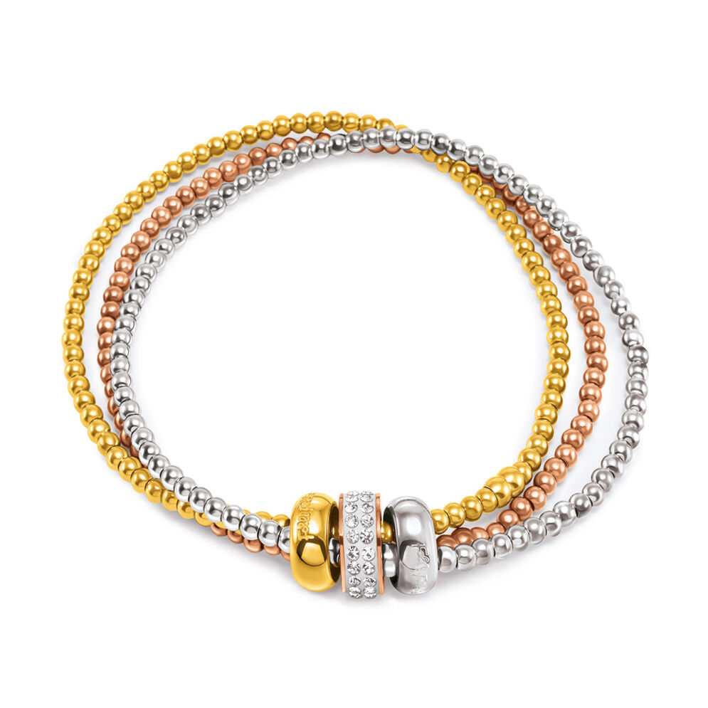 Sunbeam Silver Yellow Rose Gold Plated Ball Beads Small Diameter Bracelet, , hires