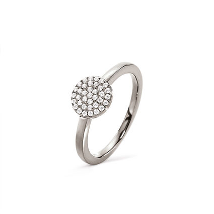 Discus Rhodium Plated Small Ring, , hires