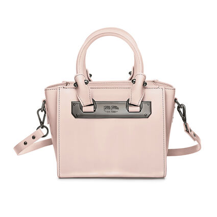 Style Code Mini Detachable Long Strap Leather Handbag, Pink, hires
