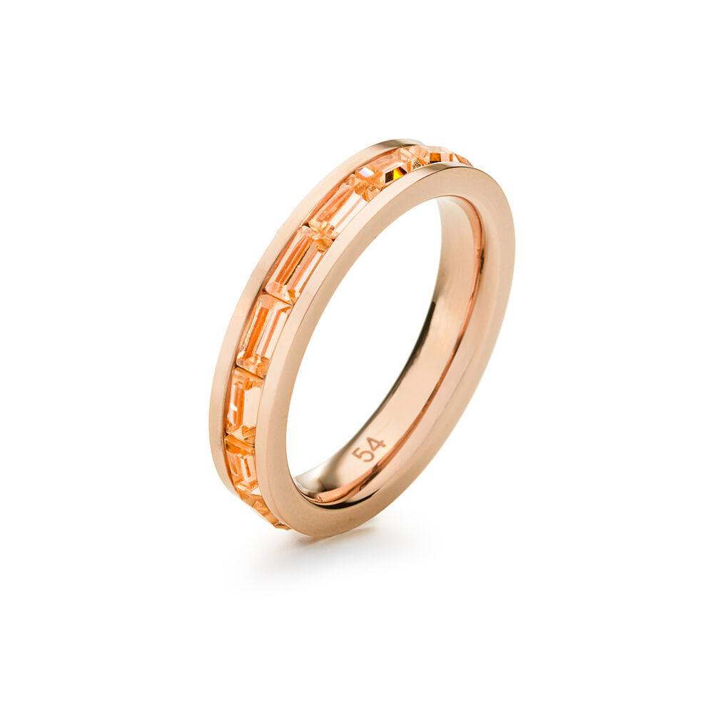 Classy Rose Gold Plated Square Champaign Crystal Stone Slim Band Ring, , hires
