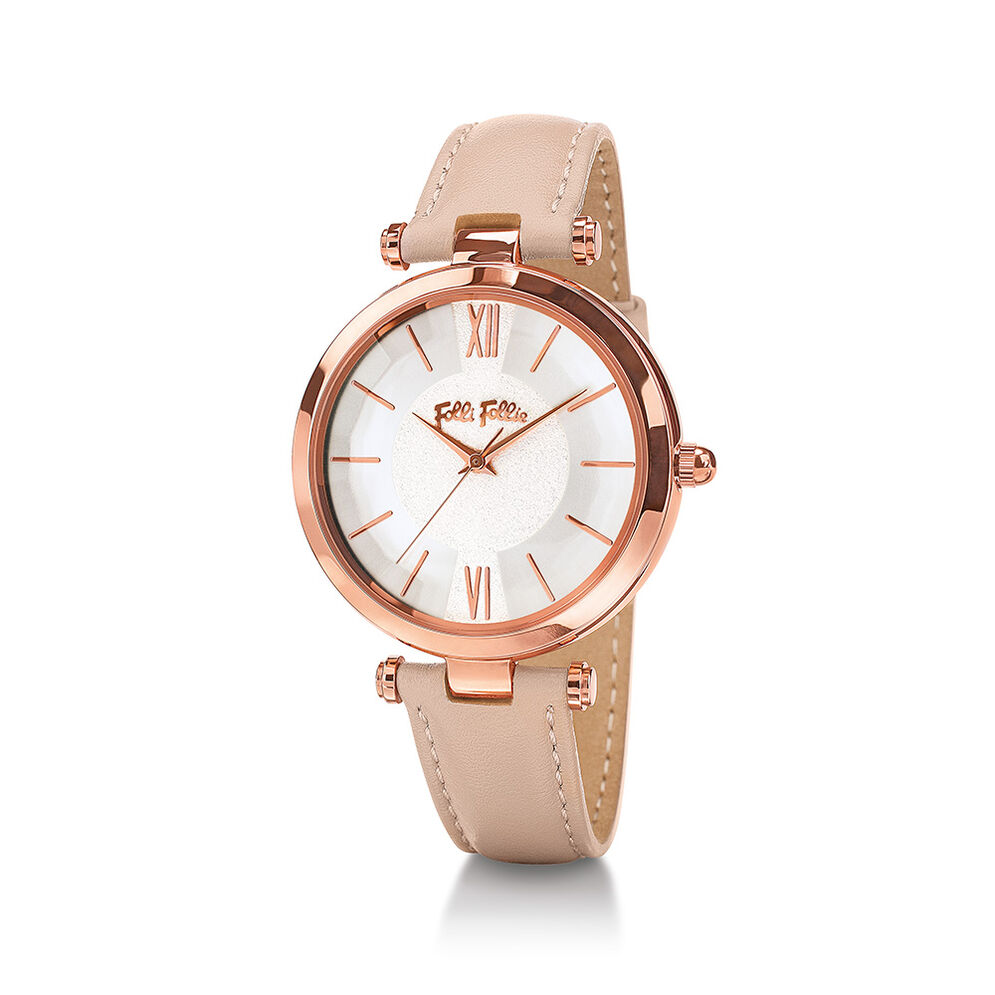 Lady Bubble Rose Gold Plated Leather Watch , Pink, hires