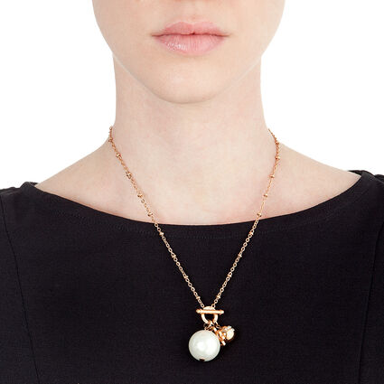 Pearl Muse Rose Gold Plated Λευκή Πέρλα και Λευκό Σμάλτο Κοντό Κολιέ, , hires