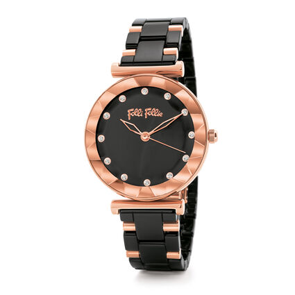 Star Flower Small Case Ceramic Bracelet Watch, Bracelet Black, hires