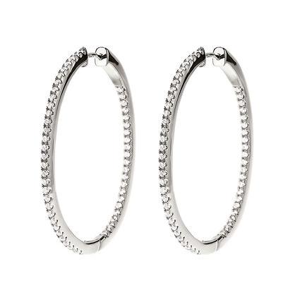 Fashionably Silver Essentials Rhodium Plated Μεσαίοι Κρίκοι Σκουλαρίκια, , hires