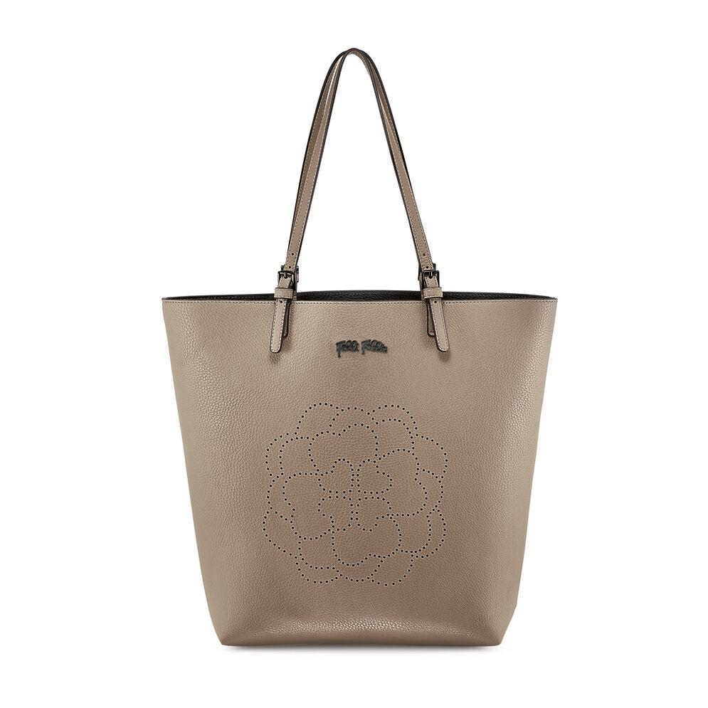 Santorini Flower Large Shoulder Bag with Inner Detachable Pouch, Gray, hires