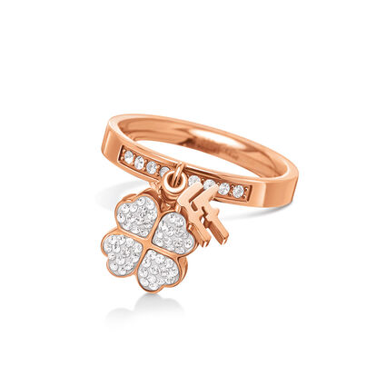 Heart4Heart Rose Gold Plated Charms Stone Ring, , hires