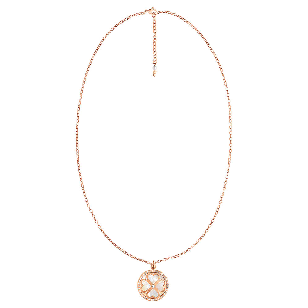 Heart4Heart Rose Gold Plated Mother Of Pearl Long Necklace, , hires