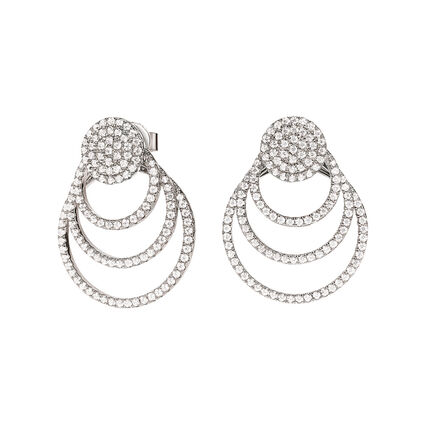 Cyclos Rhodium Plated Short Earrings, , hires