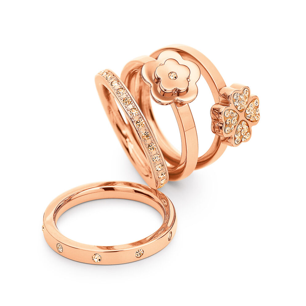 Gift Wonders Rose Gold Plated Σετ Τεσσάρων Δαχτυλιδιών, , hires