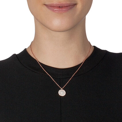 Discus Rose Gold Plated Κοντό Κολιέ, , hires