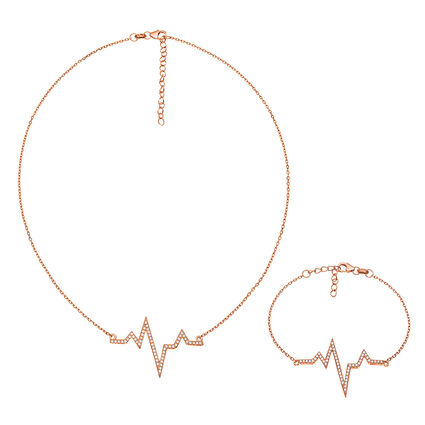 Fashionably Silver Stories Rose Gold Plated Set, , hires