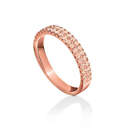 Fashionably Silver Essentials Rose Gold Plated Σιρέ Δαχτυλίδι, , hires