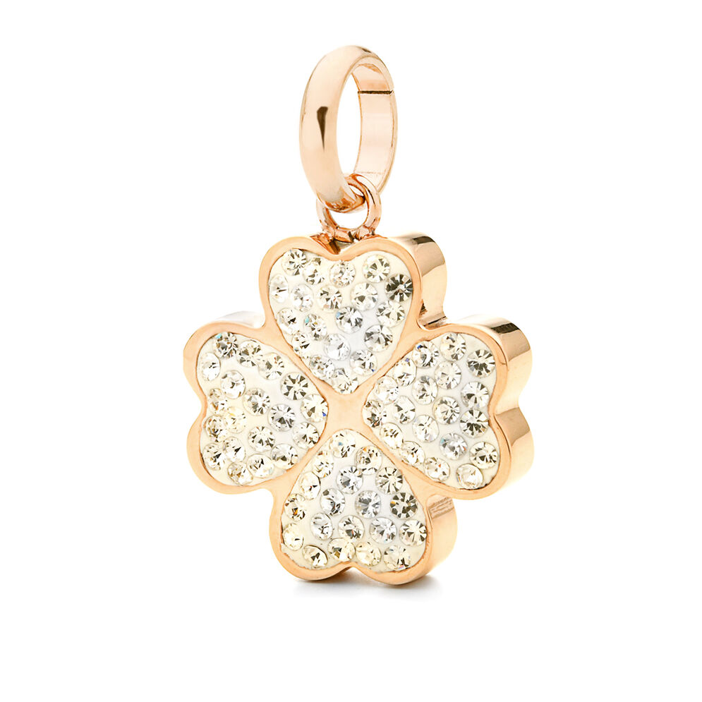 Follie Di Fiori Rose Gold Plated Pave Clear Crystal Stone Small Pendant, , hires