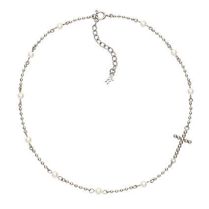 Carma Beads Silver Plated Necklace, , hires