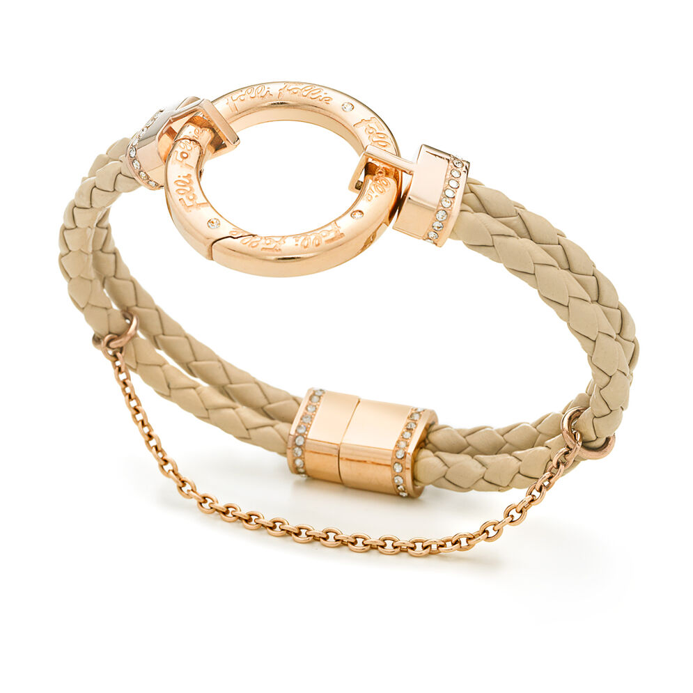 Follie Di Fiori Rose Gold Plated Double Row Beige Bracelet, , hires