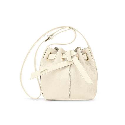 Tie The Knot Mini Adjustable Strap Bucket Shoulder Bag, Beige, hires
