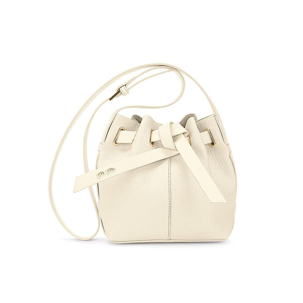 Tie The Knot Mini Adjustable Strap Bucket Shoulder Bag, Beige, hires