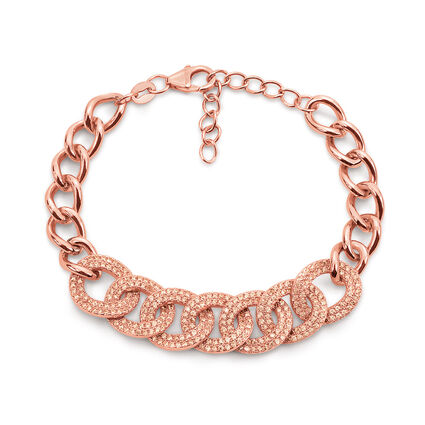Fashionably Silver Temptation Rose Gold Plated Bracelet, , hires