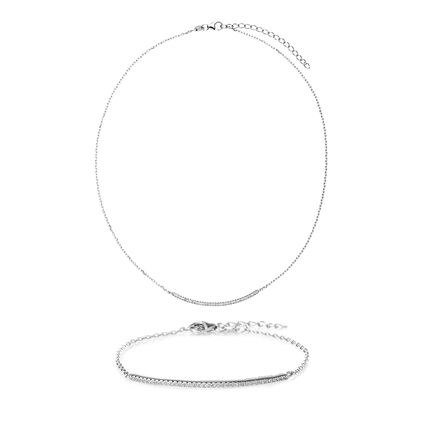 Fashionably Silver Essentials Rhodium Plated Σετ, , hires