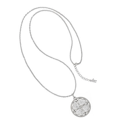 Heart4Heart Silver Plated Pave Clear Crystal Stone Long Necklace, , hires