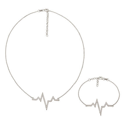 Fashionably Silver Stories Rhodium Plated Set, , hires