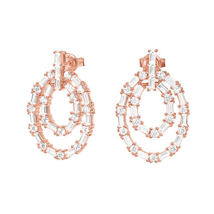 fashinably Silver Essentilas Rose Gold Plated Short Earrings, , hires