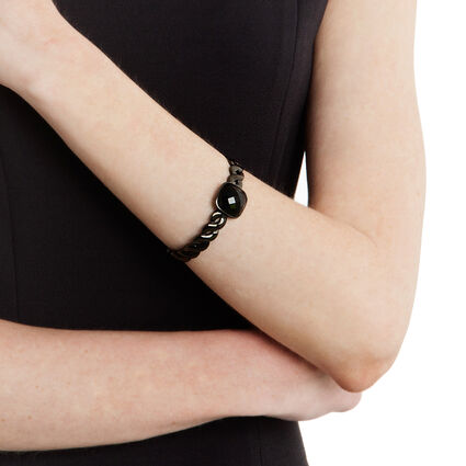 Apeiron Black Plated Black Square Stone Cuff Bracelet , , hires