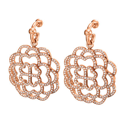 Santorini Flower Rose Gold Plated Σκουλαρίκια, , hires