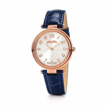 Classy Reflections Swiss Made Leather Watch, Blue, hires
