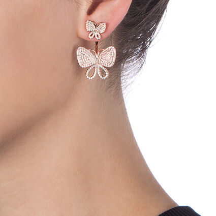 Wonderfly  Rose Gold Plated  Κοντά Σκουλαρίκια, , hires
