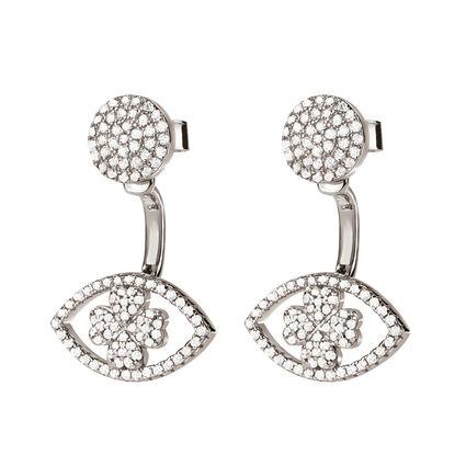 Heart4Heart Mati Rhodium Plated Short Earrings , , hires