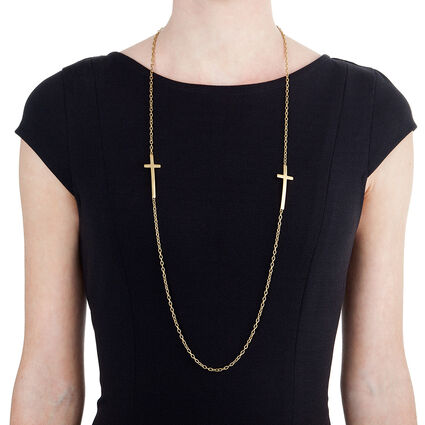 Carma Yellow Plated Long Necklace, , hires
