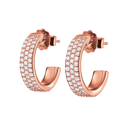Fashionably Silver Essentials Rose Gold Plated Small Hoops Earrings, , hires