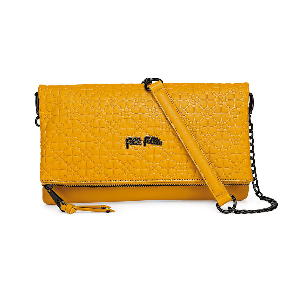 Heart4Heart Sweetheart Detachable Chain Strap Embossed Evening Bag, Yellow, hires