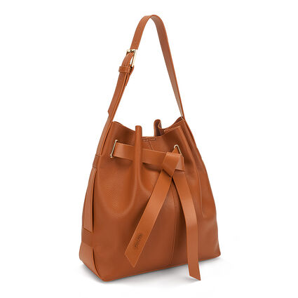Tie The Knot Large Adjustable Strap Bucket Shoulder Bag, Brown, hires