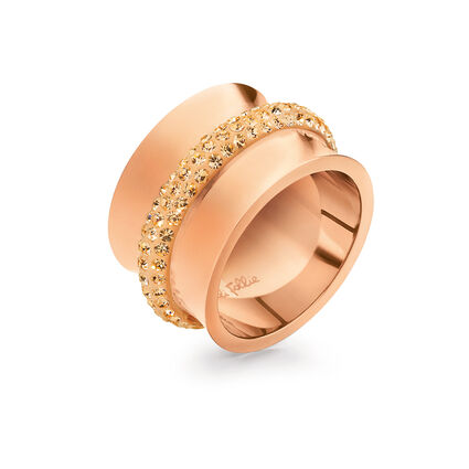 Dazzling Rose Gold Plated Champaign Crystal Stone Wide Band Ring, , hires