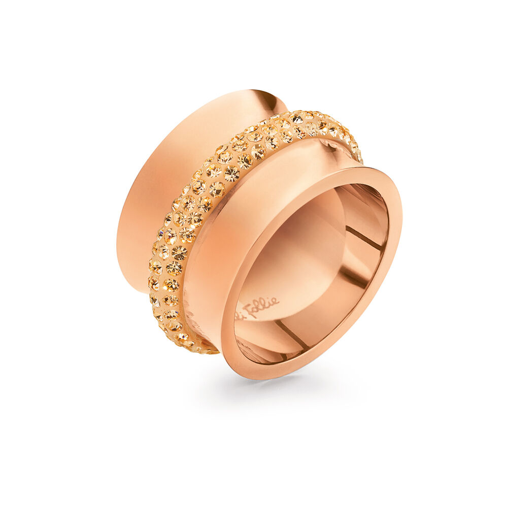 Dazzling Rose Gold Plated Champagne Κρυστάλλινες Πέτρες Φαρδύ Δαχτυλίδι, , hires