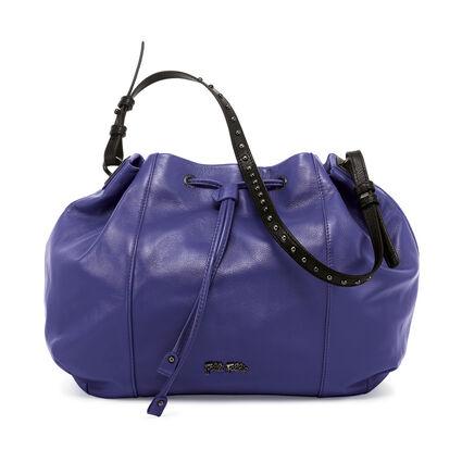 Brisk Large Leather Bucket Shoulder Bag, Purple, hires