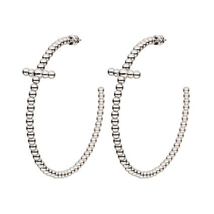 Carma Beads Silver Plated Hoop Earrings, , hires
