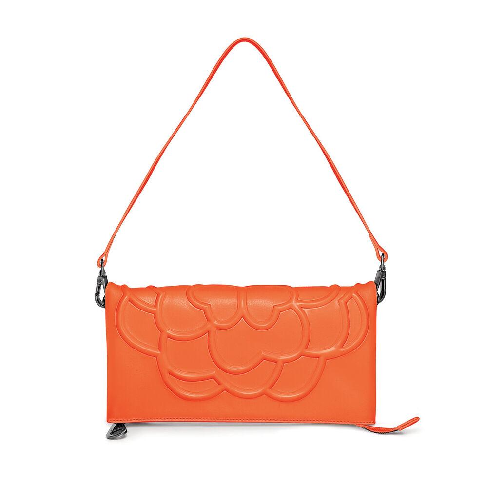 Santorini Flower Detachable Shoulder Strap Leather Evening Bag, Orange, hires