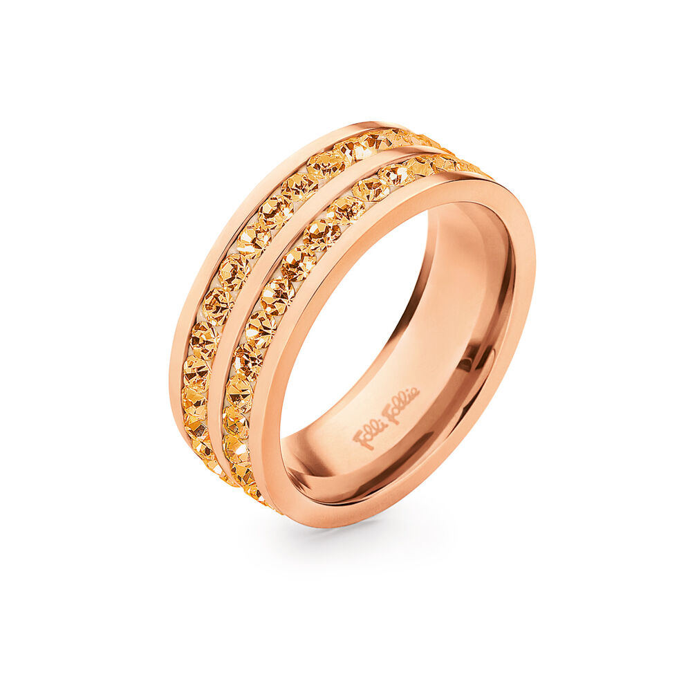 Classy Rose Gold Platted Champaign Crystal Stone Wide Band Ring, , hires