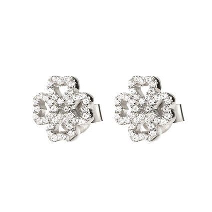 Miss Heart4Heart Rhodium Plated Stud Earrings, , hires