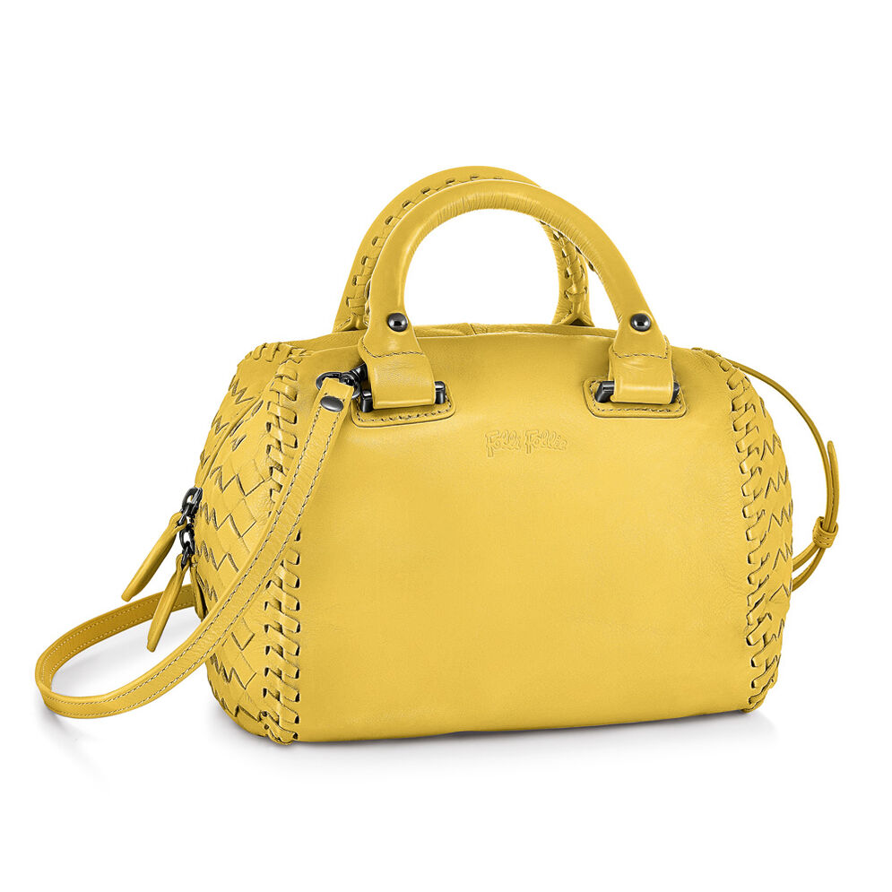Twist Together Mini Deatchable Long Strap Braided Trim Leather Handbag, Yellow, hires
