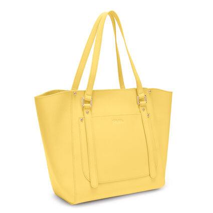Fleur Riviera Tote Leather Shoulderbag, Yellow, hires