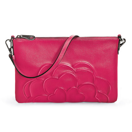 Santorini Flower Detachable Strap Leather Evening Bag, Pink, hires