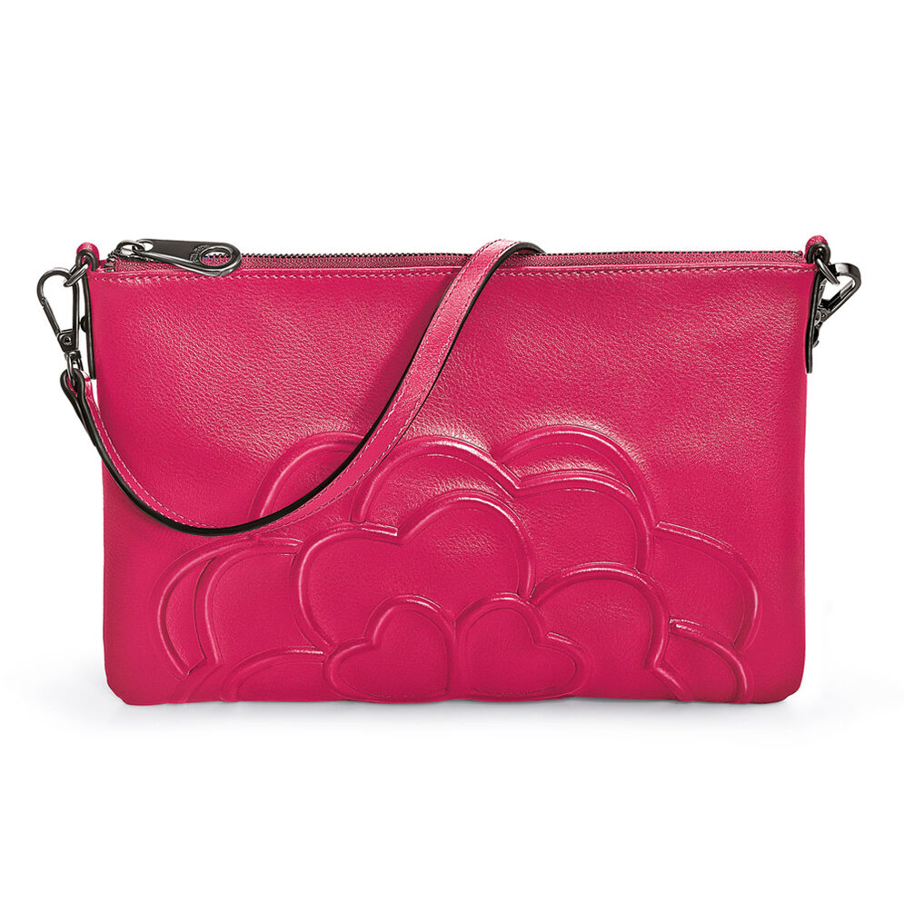 Santorini Flower Detachable Strap Leather Evening Bag, Pink, hires