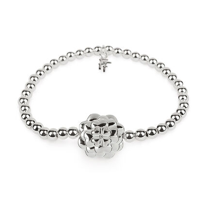 Santorini Flower Silver Plated Clear Crystal Stone Elastic Bracelet, , hires