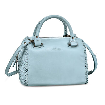Twist Together Deatchable Long Strap Braided Trim Leather Handbag, Blue, hires