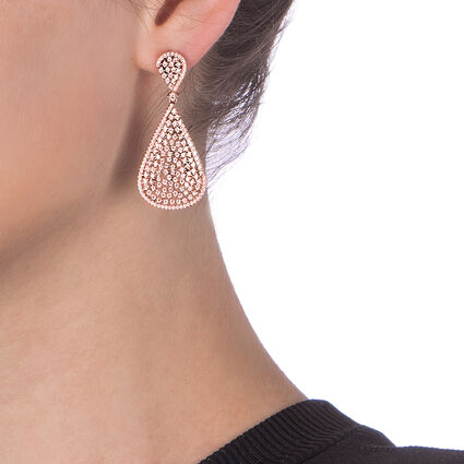 Sparkle Chic Rose Gold Plated Long Earrings , , hires