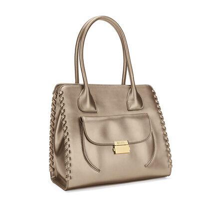 Fashion Braid Tote Shoulder Bag, Gold, hires